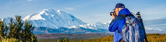 Photographing Mount McKinley in Denali National Park, Alaska.