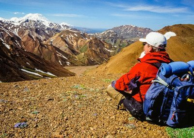Hiker with view of Mt McKinley